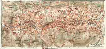 Barmen and Elberfeld (Wuppertal) city map, about 1900