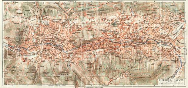Barmen and Elberfeld (Wuppertal) city map, about 1900. Use the zooming tool to explore in higher level of detail. Obtain as a quality print or high resolution image