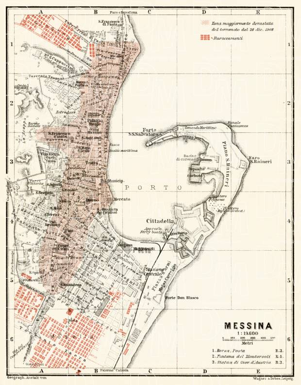 Messina city map, 1912. With display of areas suffered from earthquake on 21.12.1908. Use the zooming tool to explore in higher level of detail. Obtain as a quality print or high resolution image