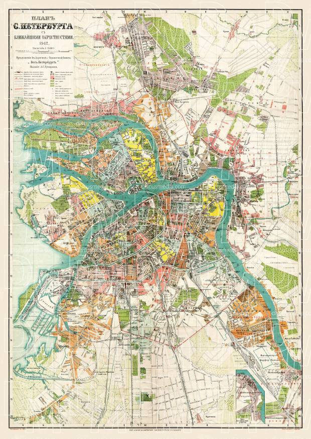 Saint Petersburg (Санктъ-Петербургъ, Sankt-Peterburg) city map, 1912. Use the zooming tool to explore in higher level of detail. Obtain as a quality print or high resolution image