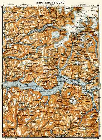 Central Sognefjord map, 1910