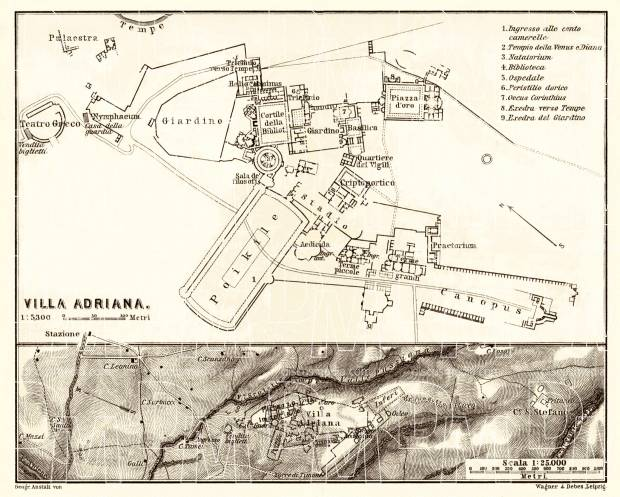 Hadrian´s Villa (Villa Adriana) and environs map, 1898 (Rome). Use the zooming tool to explore in higher level of detail. Obtain as a quality print or high resolution image