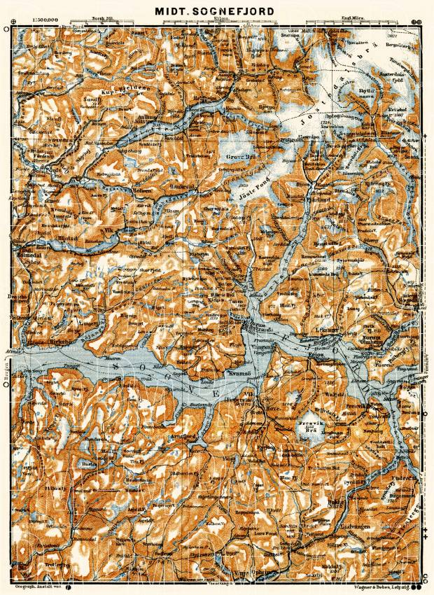 Central Sognefjord map, 1910. Use the zooming tool to explore in higher level of detail. Obtain as a quality print or high resolution image