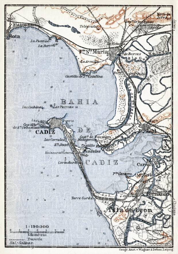 Cádiz and environs map, 1913. Use the zooming tool to explore in higher level of detail. Obtain as a quality print or high resolution image