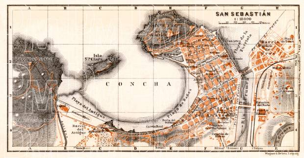 San Sebastián (Donostia) city map, 1913. Use the zooming tool to explore in higher level of detail. Obtain as a quality print or high resolution image