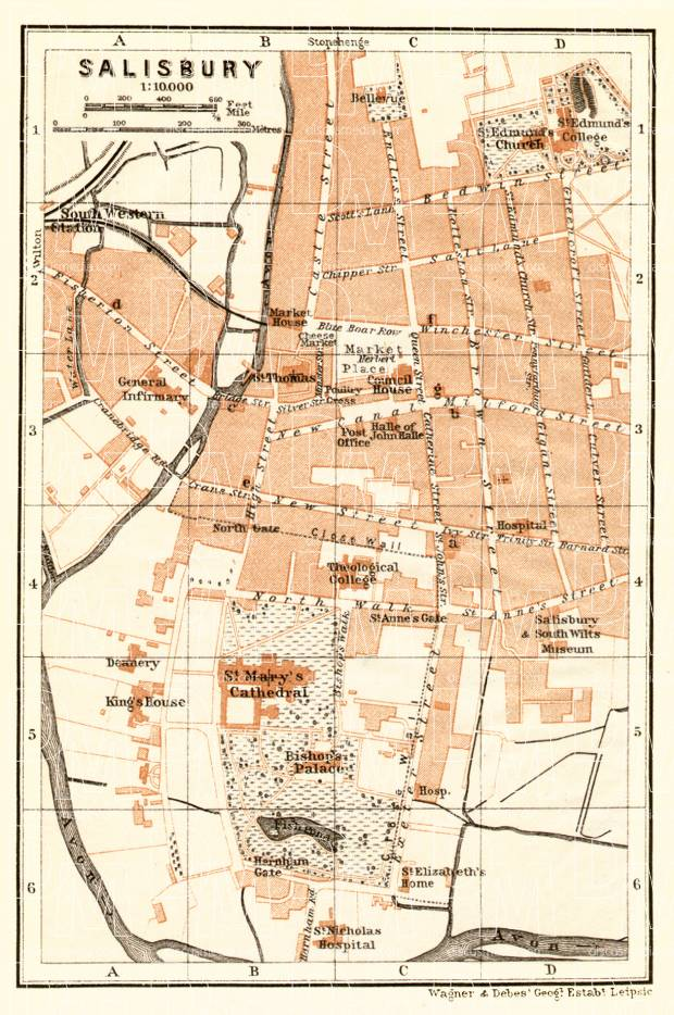 Salisbury city map, 1906. Use the zooming tool to explore in higher level of detail. Obtain as a quality print or high resolution image