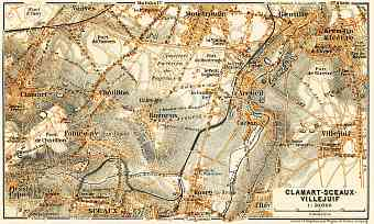 Clamart, Sceaux and Villejuif map, 1903