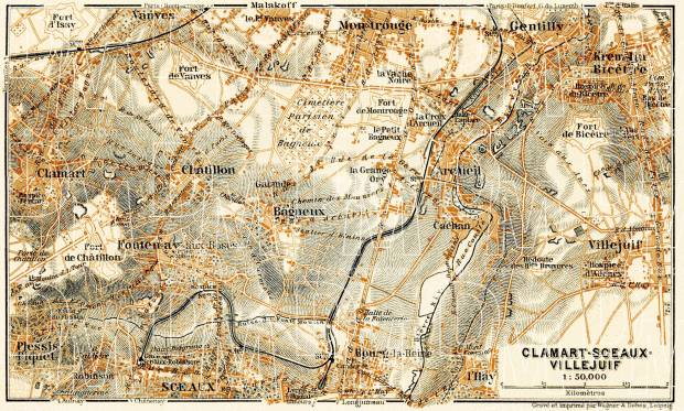 Clamart, Sceaux and Villejuif map, 1903. Use the zooming tool to explore in higher level of detail. Obtain as a quality print or high resolution image