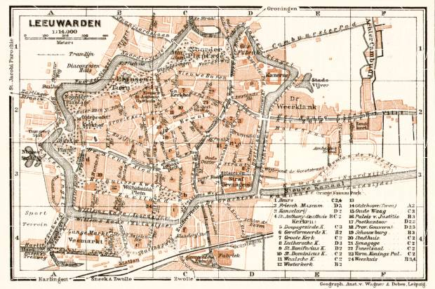 Old map of Leeuwarden in 1909 Buy vintage map replica poster print