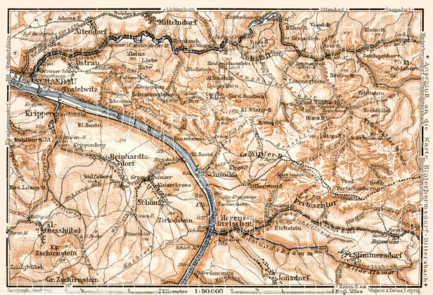 Sächsische Schweiz (Saxonian Switzerland) map from Schandau to Herruskrteschen, 1911. Use the zooming tool to explore in higher level of detail. Obtain as a quality print or high resolution image