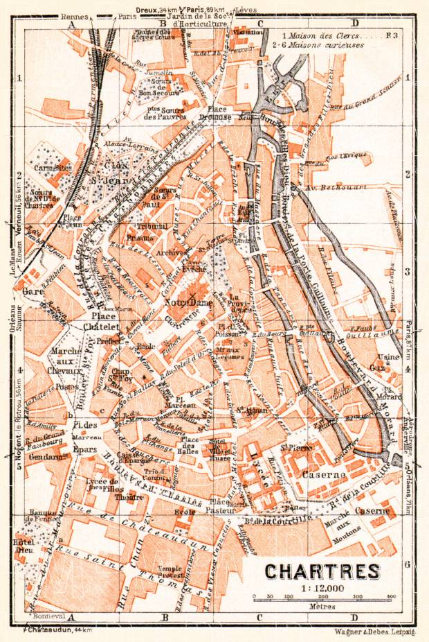 Map Of France To Print.Chartres City Map 1931