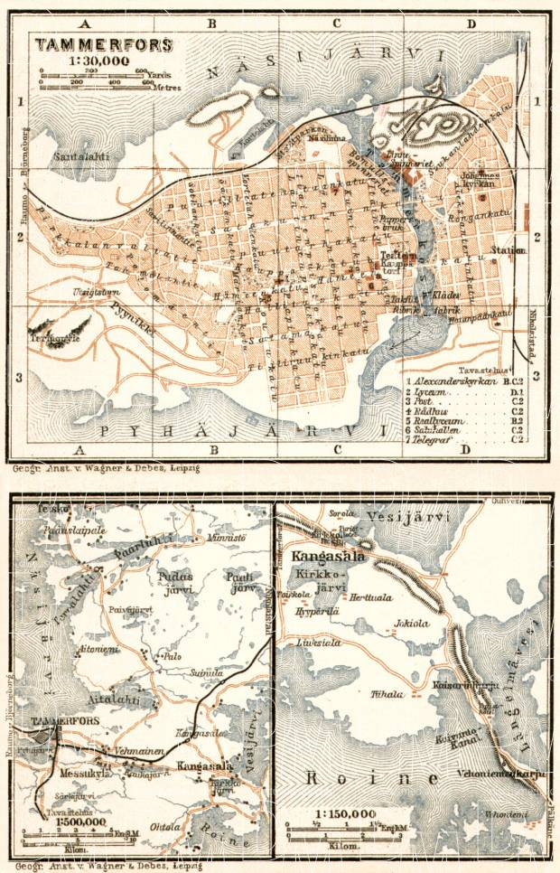 Tammerfors (Таммерфорсъ, Tampere) city map, 1914. Environs of Tammerfors. Use the zooming tool to explore in higher level of detail. Obtain as a quality print or high resolution image