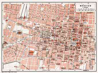 Mexico City map, 1909
