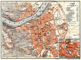 Linz city map with map inset of Pöstlingberg, 1911