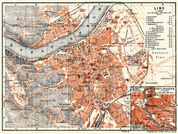 Linz city map with map inset of Pöstlingberg, 1911. Use the zooming tool to explore in higher level of detail. Obtain as a quality print or high resolution image