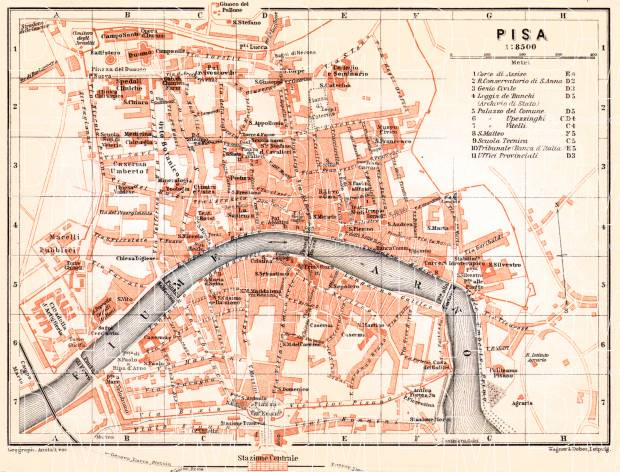 Pisa city map, 1913. Use the zooming tool to explore in higher level of detail. Obtain as a quality print or high resolution image