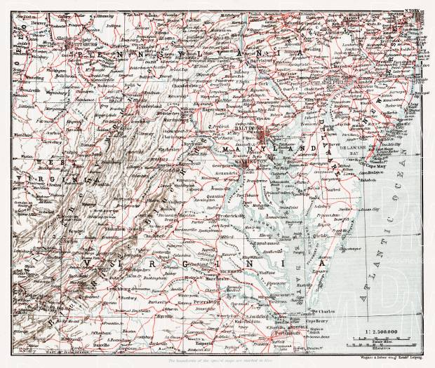 Railway Map of the Middle and Southern States, 1909. Use the zooming tool to explore in higher level of detail. Obtain as a quality print or high resolution image