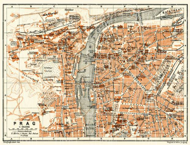 Prague (Prag, Praha) city map (names in German), 1911. Use the zooming tool to explore in higher level of detail. Obtain as a quality print or high resolution image