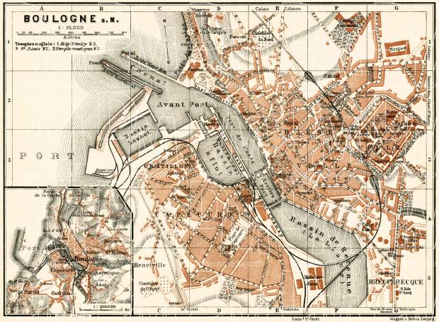 Boulogne-sur-Mer city map, 1913. Use the zooming tool to explore in higher level of detail. Obtain as a quality print or high resolution image