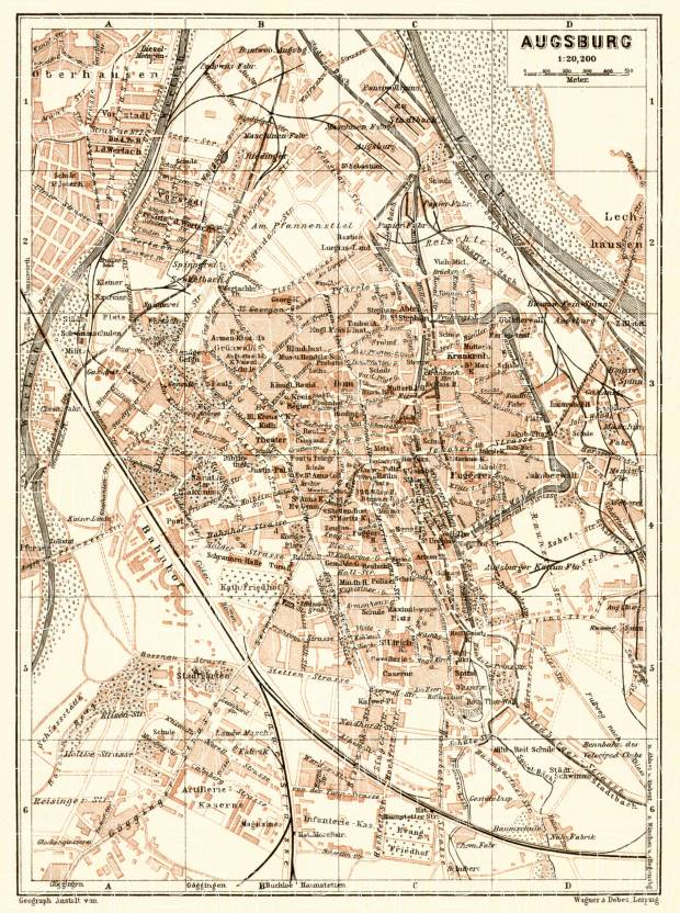 Augsburg city map, 1906. Use the zooming tool to explore in higher level of detail. Obtain as a quality print or high resolution image
