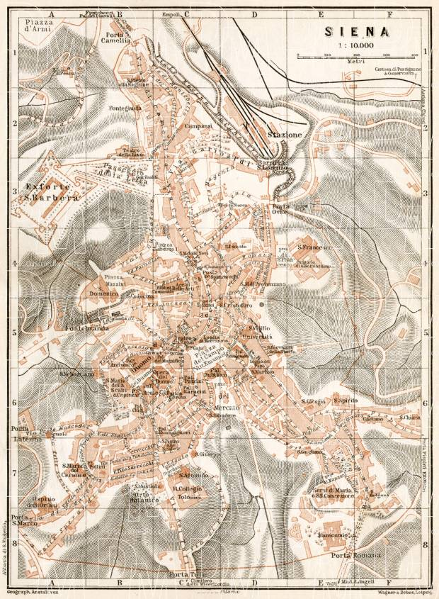 Siena city map, 1909. Use the zooming tool to explore in higher level of detail. Obtain as a quality print or high resolution image