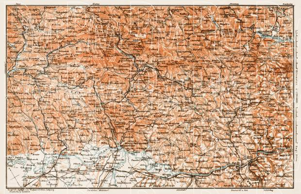 Map of the Bavarian Forest (Bayerischer Wald), 1909. Use the zooming tool to explore in higher level of detail. Obtain as a quality print or high resolution image