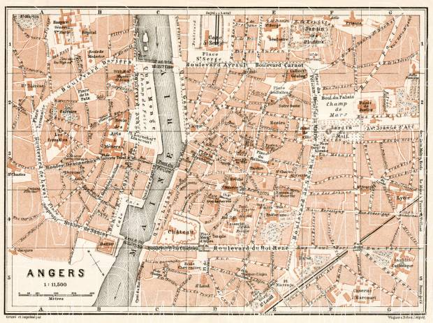 Angers city map, 1909. Use the zooming tool to explore in higher level of detail. Obtain as a quality print or high resolution image
