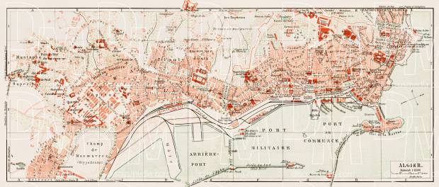 Algiers (الجزائر‎, al-Jazā'er) city map, 1913. Use the zooming tool to explore in higher level of detail. Obtain as a quality print or high resolution image