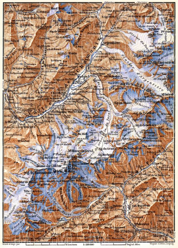 Mont Blanc and Chamonix Valley map, 1885. Use the zooming tool to explore in higher level of detail. Obtain as a quality print or high resolution image