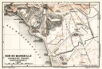 Map of the south suburbs of Marseille, 1902