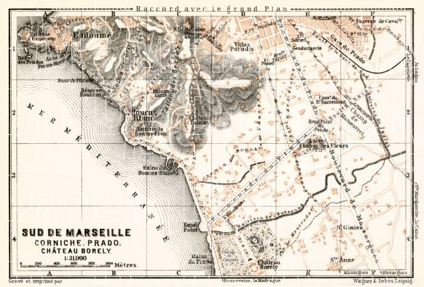 Map of the south suburbs of Marseille, 1902. Use the zooming tool to explore in higher level of detail. Obtain as a quality print or high resolution image