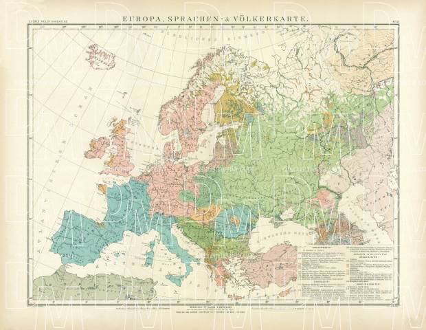 High Resolution Map Of Europe.Old Map Of Europe Nations And Languages Distribution In 1905 Buy