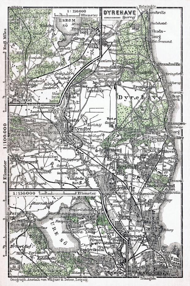 Dyrehave and environs map (Jægersborg Dyrehave in Copenhagen), 1931. Use the zooming tool to explore in higher level of detail. Obtain as a quality print or high resolution image