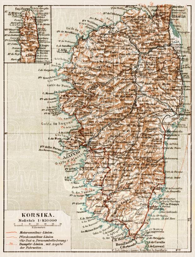 Map of Corsica (Corse), 1913. Use the zooming tool to explore in higher level of detail. Obtain as a quality print or high resolution image
