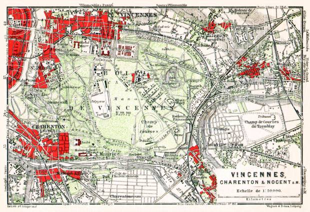 Vincennes, Charenton and Nogent-sur-Marne map, 1931. Use the zooming tool to explore in higher level of detail. Obtain as a quality print or high resolution image