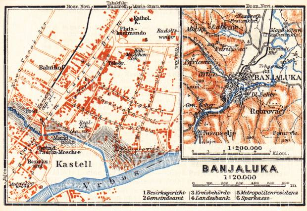 Banja Luka (Banjaluka), city map and environs map, 1911. Use the zooming tool to explore in higher level of detail. Obtain as a quality print or high resolution image