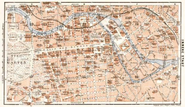 Old map of Berlin Center in 1911 Buy vintage map replica poster