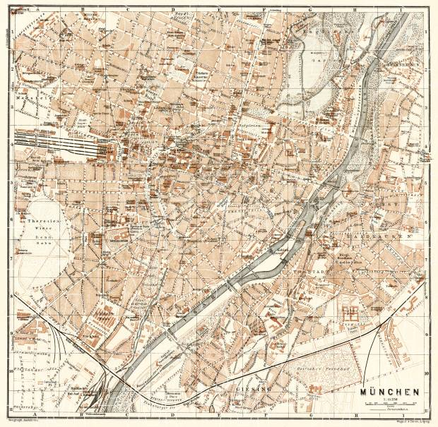 München (Munich) city map, 1906. Use the zooming tool to explore in higher level of detail. Obtain as a quality print or high resolution image