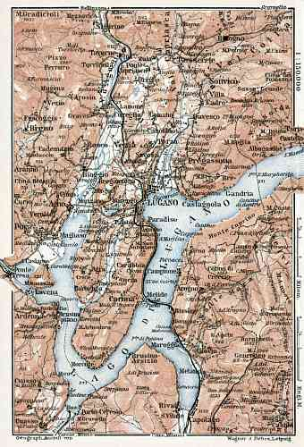 Lugano and environs map, 1909