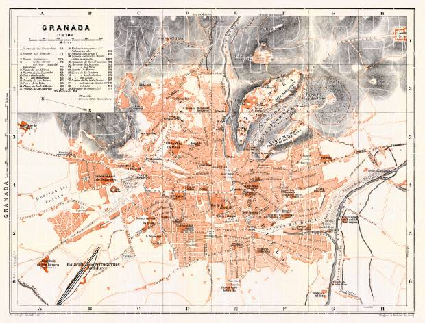 Granada city map, 1911. Use the zooming tool to explore in higher level of detail. Obtain as a quality print or high resolution image
