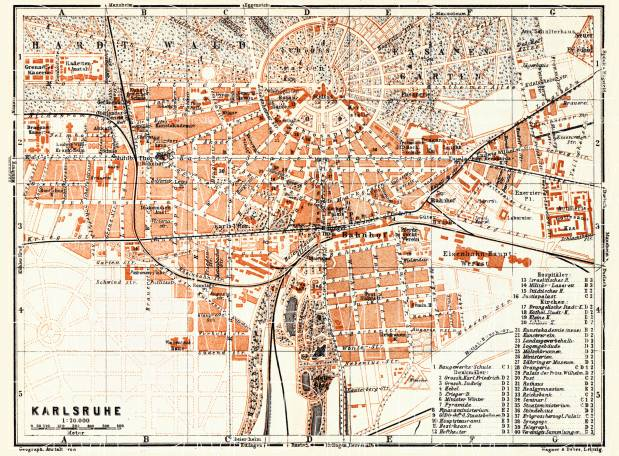 Karlsruhe city map, 1905. Use the zooming tool to explore in higher level of detail. Obtain as a quality print or high resolution image
