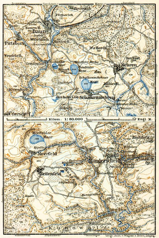 Daun, Manderscheid and environs map, 1905. Use the zooming tool to explore in higher level of detail. Obtain as a quality print or high resolution image
