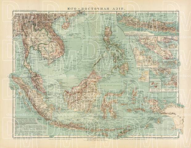Southeastern Asia Map (in Russian), 1910. Use the zooming tool to explore in higher level of detail. Obtain as a quality print or high resolution image