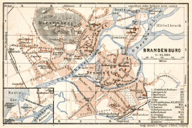 Brandenburg (an der Havel) city map, 1911. Use the zooming tool to explore in higher level of detail. Obtain as a quality print or high resolution image