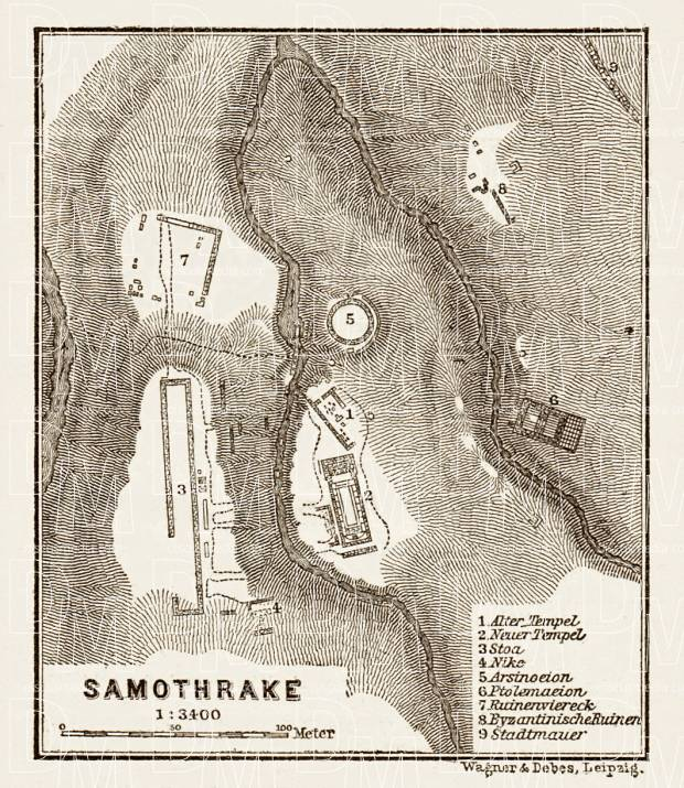 Samothrace (Σαμοθράκη, Samothrake), ancient site map, 1914. Use the zooming tool to explore in higher level of detail. Obtain as a quality print or high resolution image