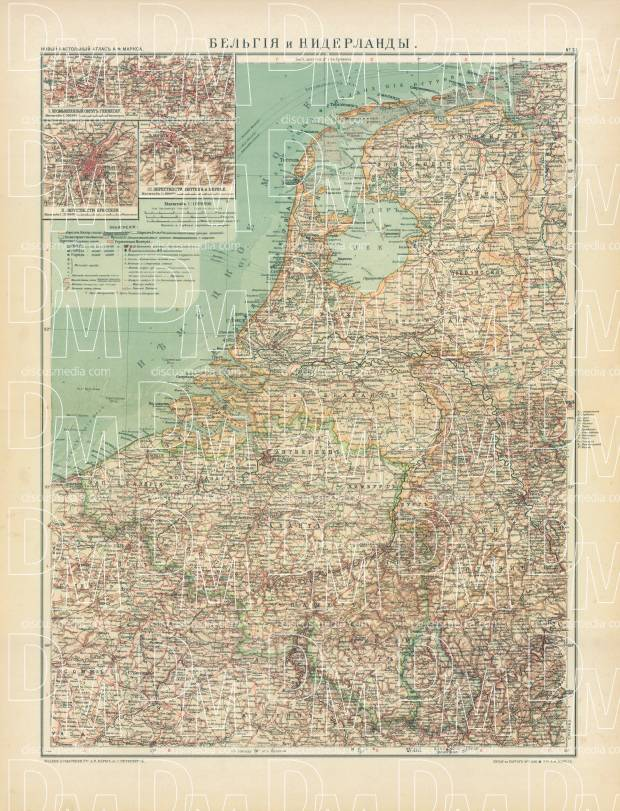 Belgium and the Netherlands Map (in Russian), 1910. Use the zooming tool to explore in higher level of detail. Obtain as a quality print or high resolution image