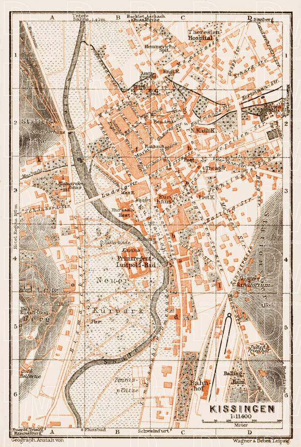 Kissingen city map, 1909. Use the zooming tool to explore in higher level of detail. Obtain as a quality print or high resolution image