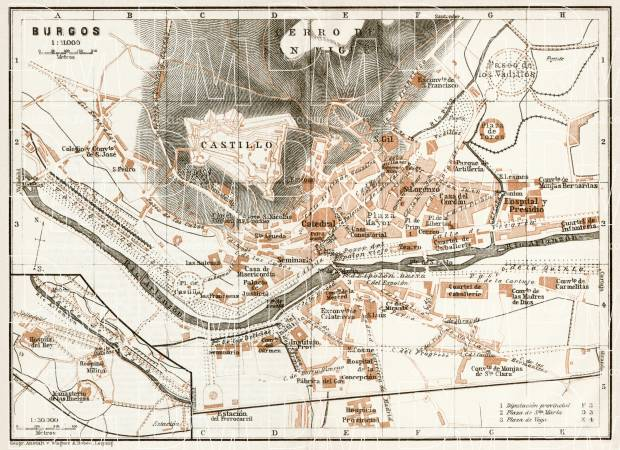 Burgos city map, 1913. Use the zooming tool to explore in higher level of detail. Obtain as a quality print or high resolution image