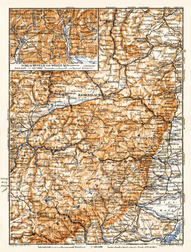 Rhenish Palatinate. Vosges (Wasgenwald) - Haardt, Wörth - Schlachtfeld districts map, 1905. Use the zooming tool to explore in higher level of detail. Obtain as a quality print or high resolution image