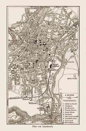 Innsbruck city map, 1903